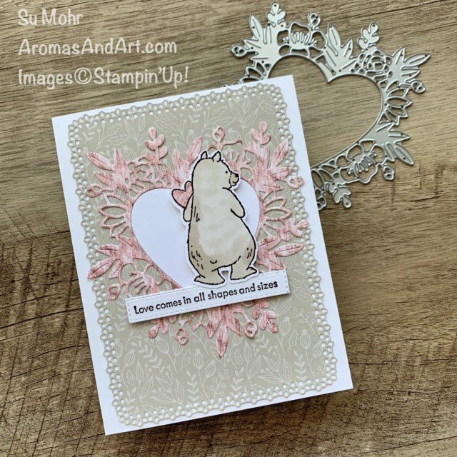 """By Su Mohr for """"stampingthroughthecatalog; Click aromasandart.com to go to my website for details! Featuring: Count On Me Stamp Set, Ornate Layers Dies, Floral Heart Dies, In Good Taste Designer Paper, Tidings Of Christmas Paper; #countonme #ingoodtaste #tidingsofchristmas #salepaper #stampinup #bears #bearsoncards #animalsoncards #hearts #heartsoncards #handmadecards #handcrafted #diy #cardmaking #papercrafting #sumohr #aromasandart.com/shop"""