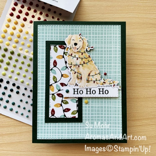 By Su Mohr for FMS; Click aromasandart.com to go to my website for details! Featuring: Sweet Stockings Designer Paper, Matte Decorative Dots, Perfectly Plaid Stamp Set, Stitched Rectangles Dies; #sweetstockings #dogsoncards #animalsoncards #christmascards #holidaycards #2021holiday #perfectlyplais #handmadecards #handcrafted #diy #cardmaking #papercrafting #sumohr #aromasandart.com/shop #aromasandart.com #stamping #stampinup #cardchallenges #cardsketches