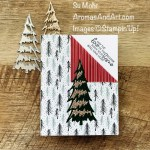 By Su Mohr; Click aromasandart.com to go to my website for instructions! Featuring: Whimsical Trees Bundle, Stitched Triangles Dies, Tidings Of Christmas Designer paper, Be Dazzling Paper; #whimsicaltrees #tidingsofchristmas #bedazzling #stitchedtriangles #christmastrees #christmascards #holidaycards #cornerfold #cardtechniques #holiday2021 #handmadecards #handcrafted #diy #cardmaking #papercrafting #stamping #stampinup #sumohr #aromasandart.com/shop