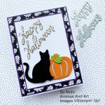 By Su Mohr for the Pals Blog Hop; Click aromasandart.com to go to my website for instructions! Featuring: Cat Punch, Detailed Pumpkins Dies, Pattern Party Designer Paper, Be Dazzling Paper, Word Wishes Dies; #halloweencards #catpunch #catsoncards #pumpkins #pumpkinsoncards #handmadecards #handcrafted #diy #cardmaking #papercrafting #sumohr #aromasandart.com/shop #heatembossing #cardtechniques #