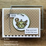 """By Su Mohr for FMS; Click aromasandart.com to go to my blog for details! Featuring: Back On Your Feet Stamp Set, Pattern party Paper, Neutrals 6"""" X 6"""" Paper, Stitched Rectangles Dies, Stampin"""
