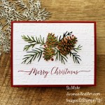 By Su Mohr for TGIF; Click aromasandart.com to go to my website for details! Featuring: Christmas Pinecone Dies, Merry Melody Embossing Folder, Heartfelt Wishes Stamp Set; #christmaspinecone #merrymelody #heartfeltwishes #christmascards #holidaycards #holiday2021 #handmadecards #handcrafted #diy #cardmaking #papercrafting #sumohr #aromasandart.com/shop #stampinup #stamping