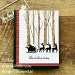 By Su Mohr for FMS; Click aromasandart.com to go to my website for details! Featuring: Welcoming Woods Stamp Set, Giving Gifts Dies, Tidings Of Christmas Designer Paper, Heartfelt Wishes Stamp Set; #welcomingwoods #givinggifts #tidingsofchristmas #santa #santaoncards #christmascards #holidaycards #holiday2021 #handmadecards #handcrafted #diy #cardmaking #papercrafting #sumohr #aromasandart.com/shop #treesoncards #stampinup #stamping