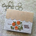 By Su Mohr for Fusion; Click aromasandart.com to go to my web site for instructions! Featuring: Sweet As A Peach Stamp Set, Peach Dies, Ornate Frames Dies, Pansy petals Designer Paper; #peaches #peachesoncards #fruitoncards #sweetasapeach #handmadecards #handcrafted #diy #cardmaking #papercrafting #sumohr #aromasandart.com/shop #stampinup #stamping