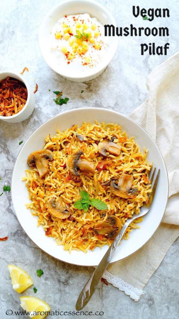 Mushroom pilaf/pulao (V+GF)