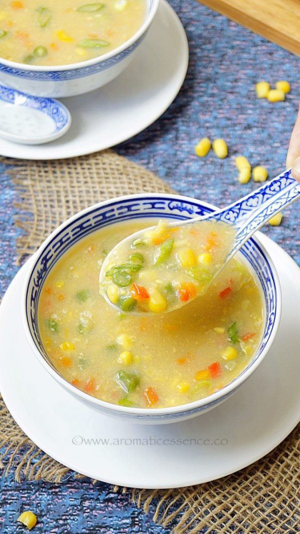 Sweet corn soup | Sweet corn vegetable soup