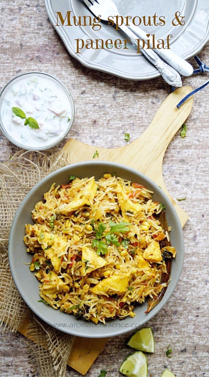 Moong Sprouts Pulao Recipe | Moong Sprouts & Paneer Pulao