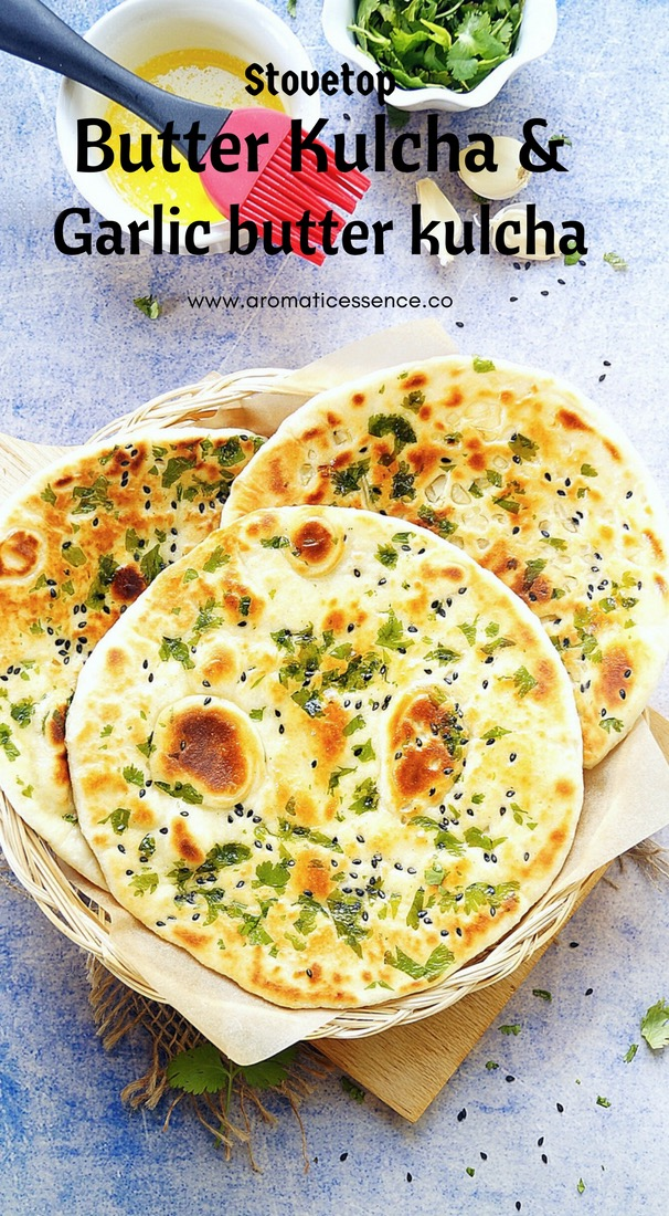 Stove top butter kulcha & garlic kulcha