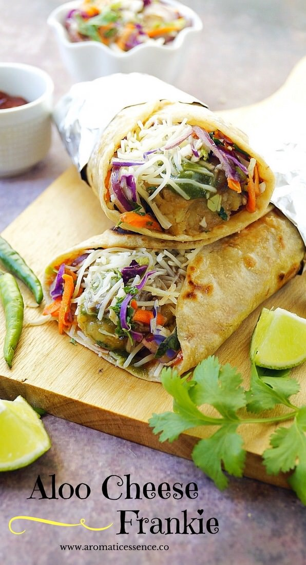 Aloo cheese frankie ( Cheese & Potato stuffed wraps)
