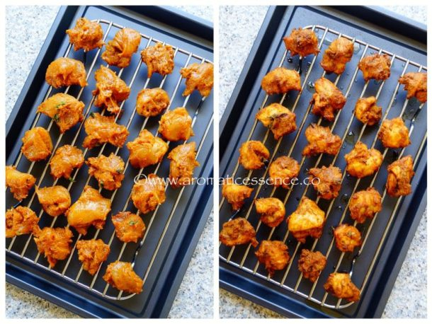 Place the chicken pieces on a greased wire rack above a baking tray.