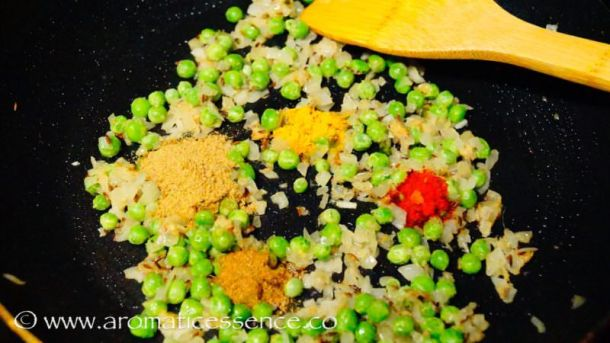 Add turmeric, red chilli, cumin & coriander powder