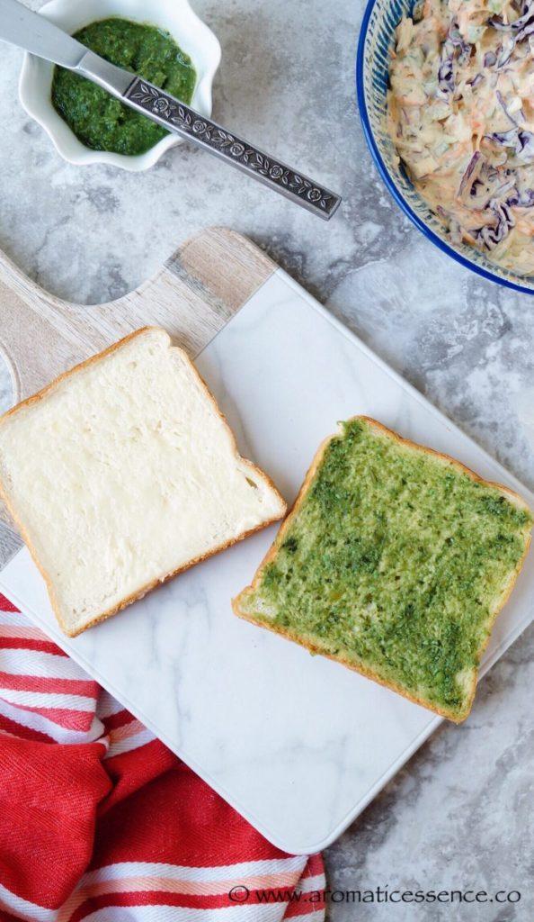 coriander chutney applied to a slice of bread