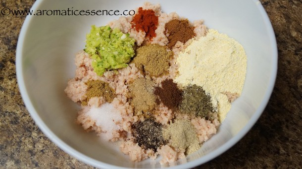 add the freshly crushed ginger-garlic-green chilli paste, dry spices along with roasted gram flour.