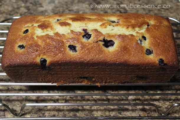 baked lemon blueberry bread fresh out of the oven