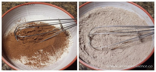 whisking flour and cocoa powder