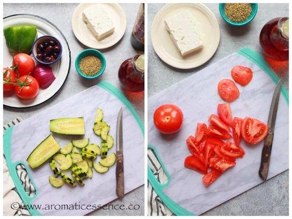 preparing tomatoes and cucumber for Greek Salad