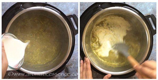 Add the cornstarch and cream mixture.