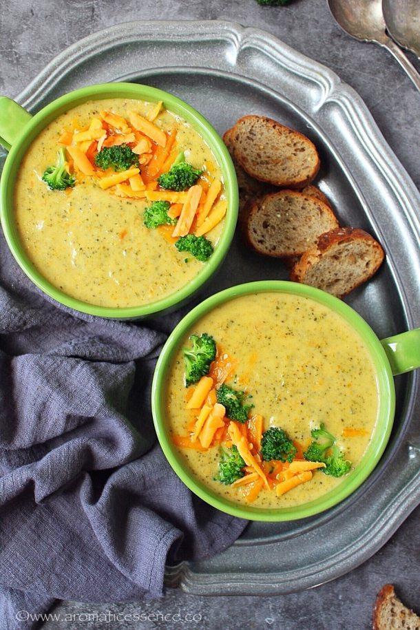 Cheddar broccoli soup from scratch