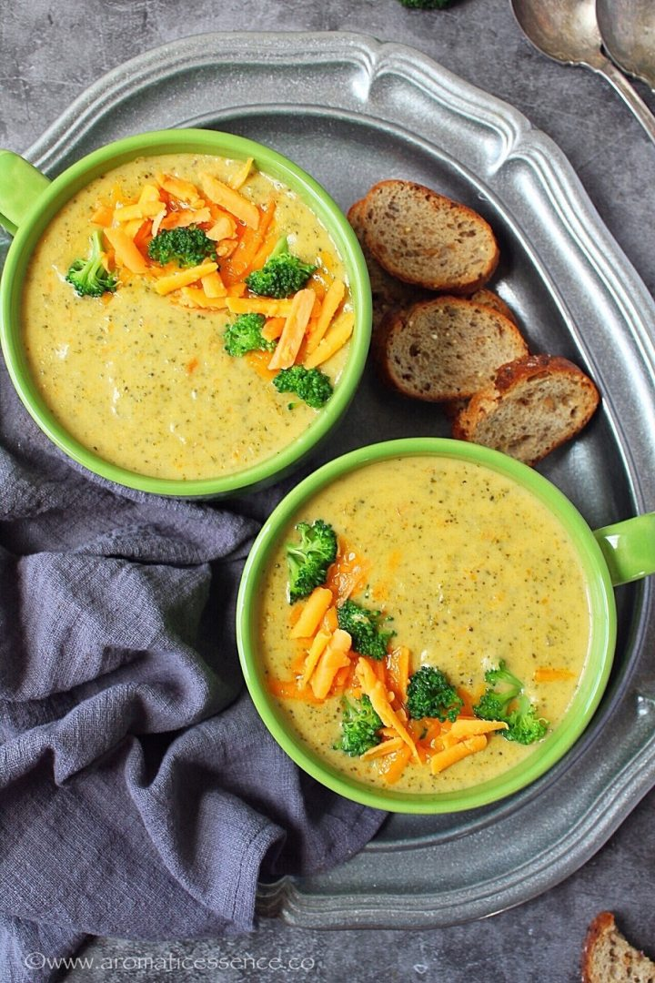 Cheddar broccoli soup from scratch