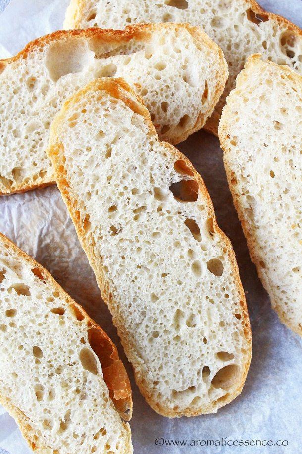 Dutch oven bread slices.