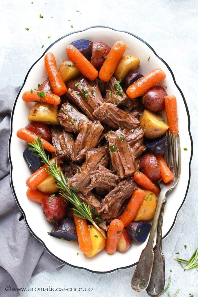 Instant Pot Pot Roast with gravy and vegetables