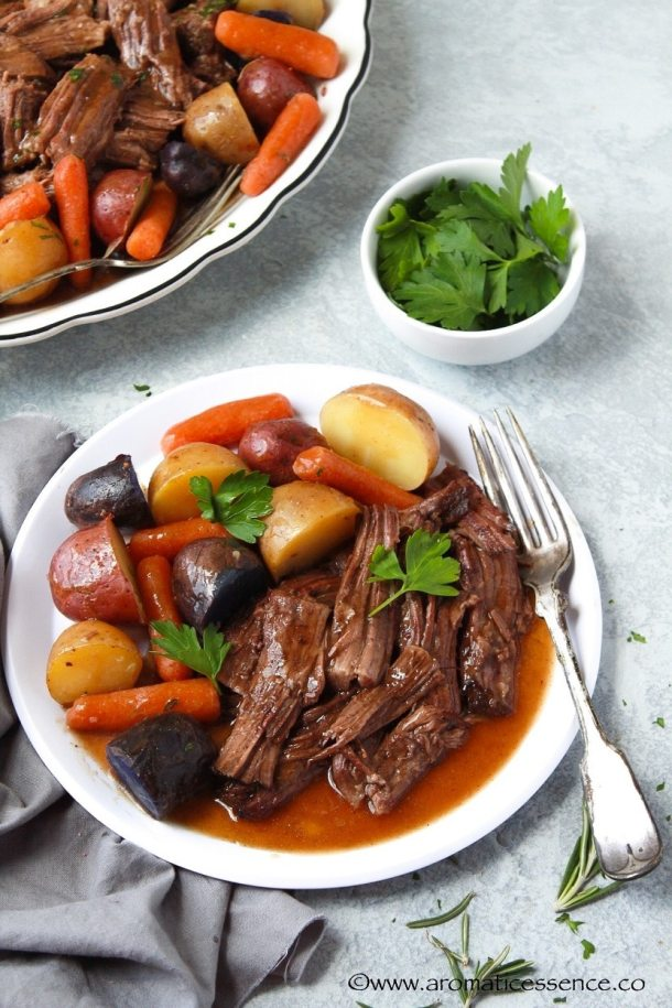Shredded pot roast with veggies