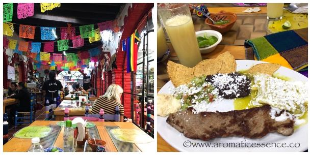 Authentic Mexican food served at a restaurant in a Mexican market