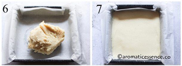 Press the white mixture into the bottom of the pan