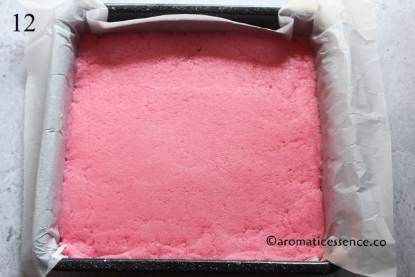 Layer the pink mixture over the white mixture