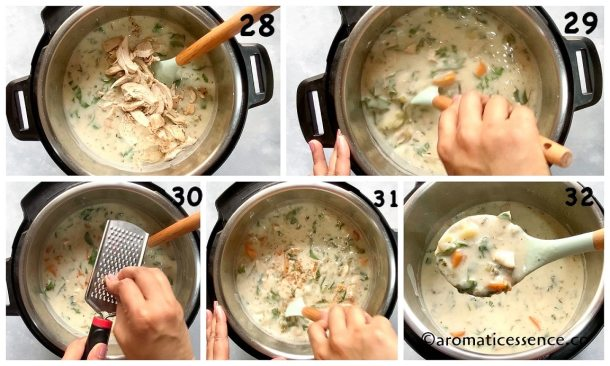 Add chicken and nutmeg, mix well