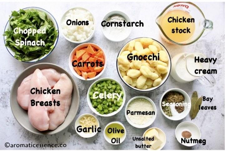 Ingredients for chicken gnocchi soup