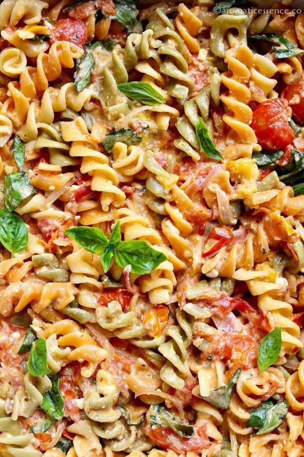 Close-up shot of feta pasta