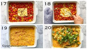 Feat cheese is mashed and mixed with the tomatoes