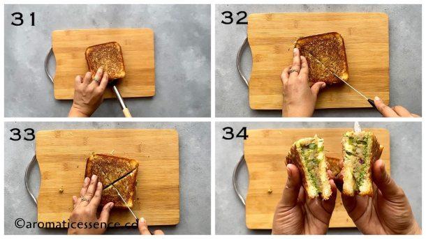 Slice the toast sandwich diagonally