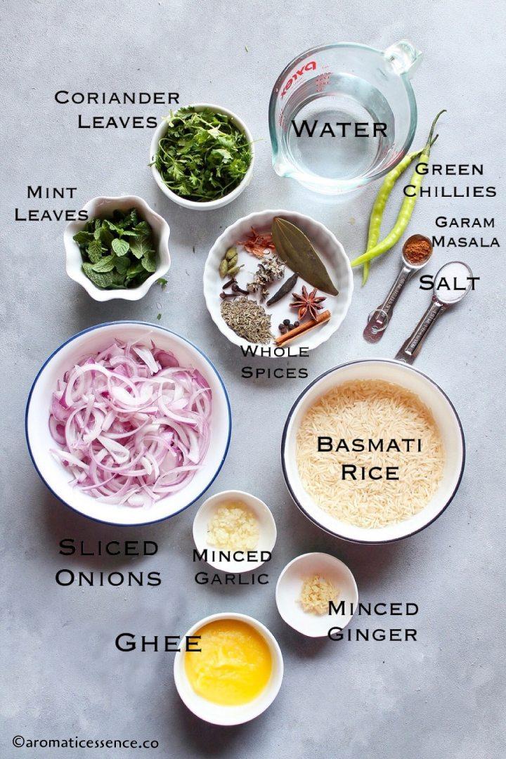 Bagara rice ingredients