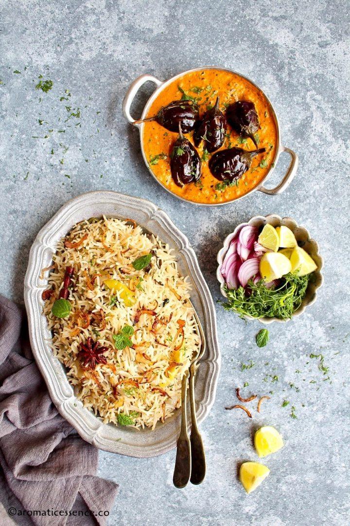 Bagara rice served with bagara baingan