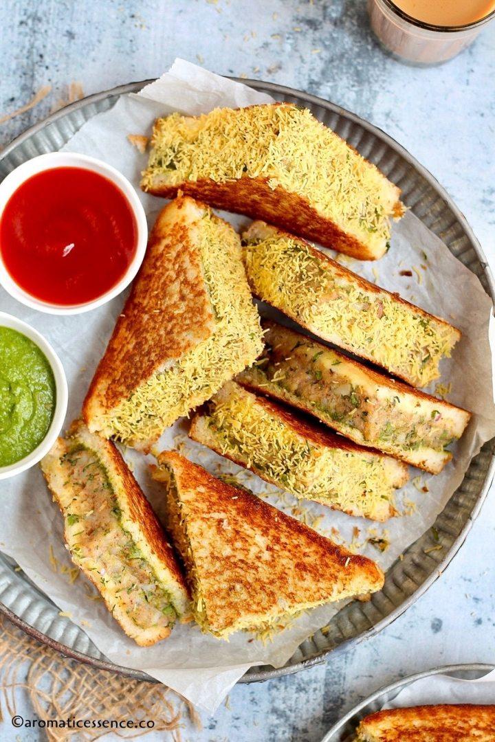 Close-up shot of potato tawa sandwich