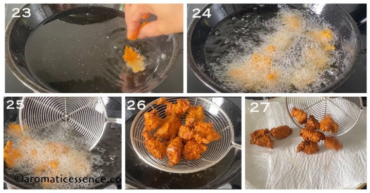Chicken pakora deep-fried and drained on an absorbent kitchen napkin
