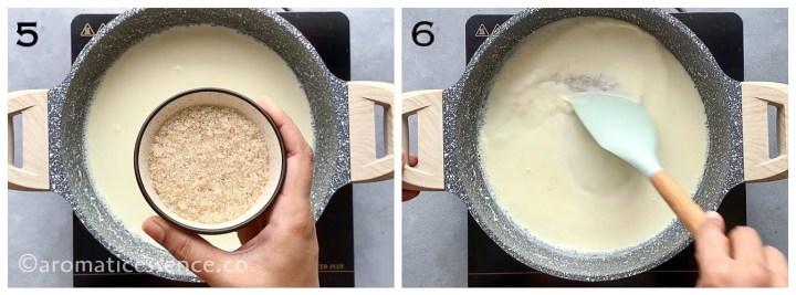 Thickened milk sweetened with sugar