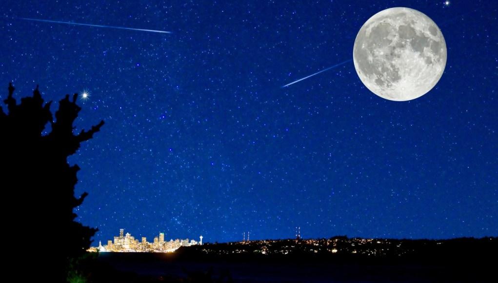 Pleine lune et pluie d'étoiles filantes