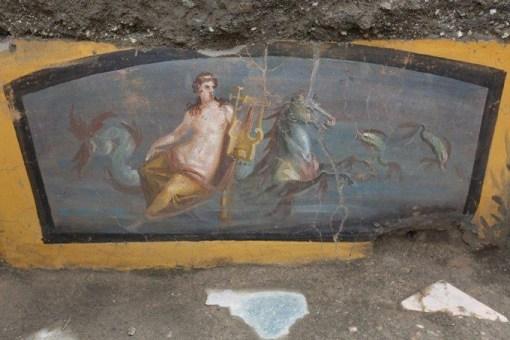 Le thermopolium récemment découvert était richement décoré. (Photo : Archaeological Park of Pompeii)