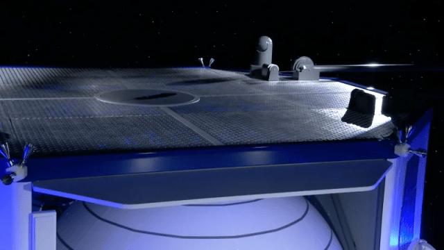 pont supérieur, où il a expliqué certaines des caractéristiques des atterrisseurs lunaires Blue Moon