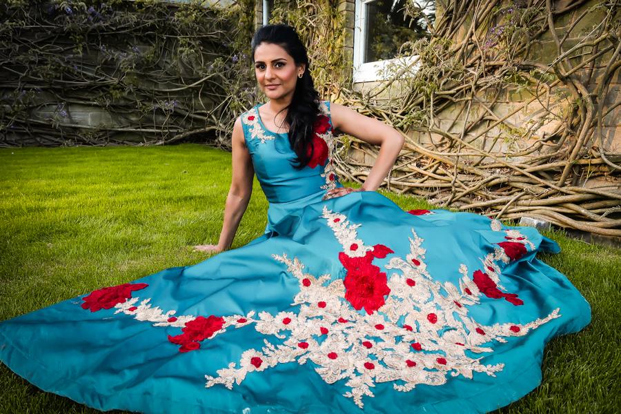 Wedding Season - Me in a teal silk gown