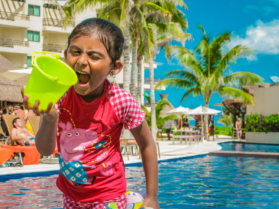 Holiday In Mexico - Shalini larking around at the pool