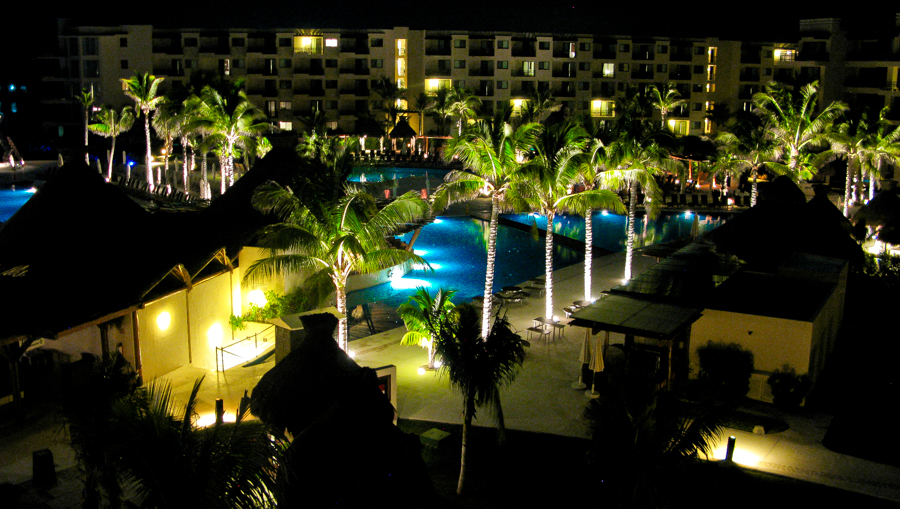 Holiday In Mexico - The hotel lit up at night
