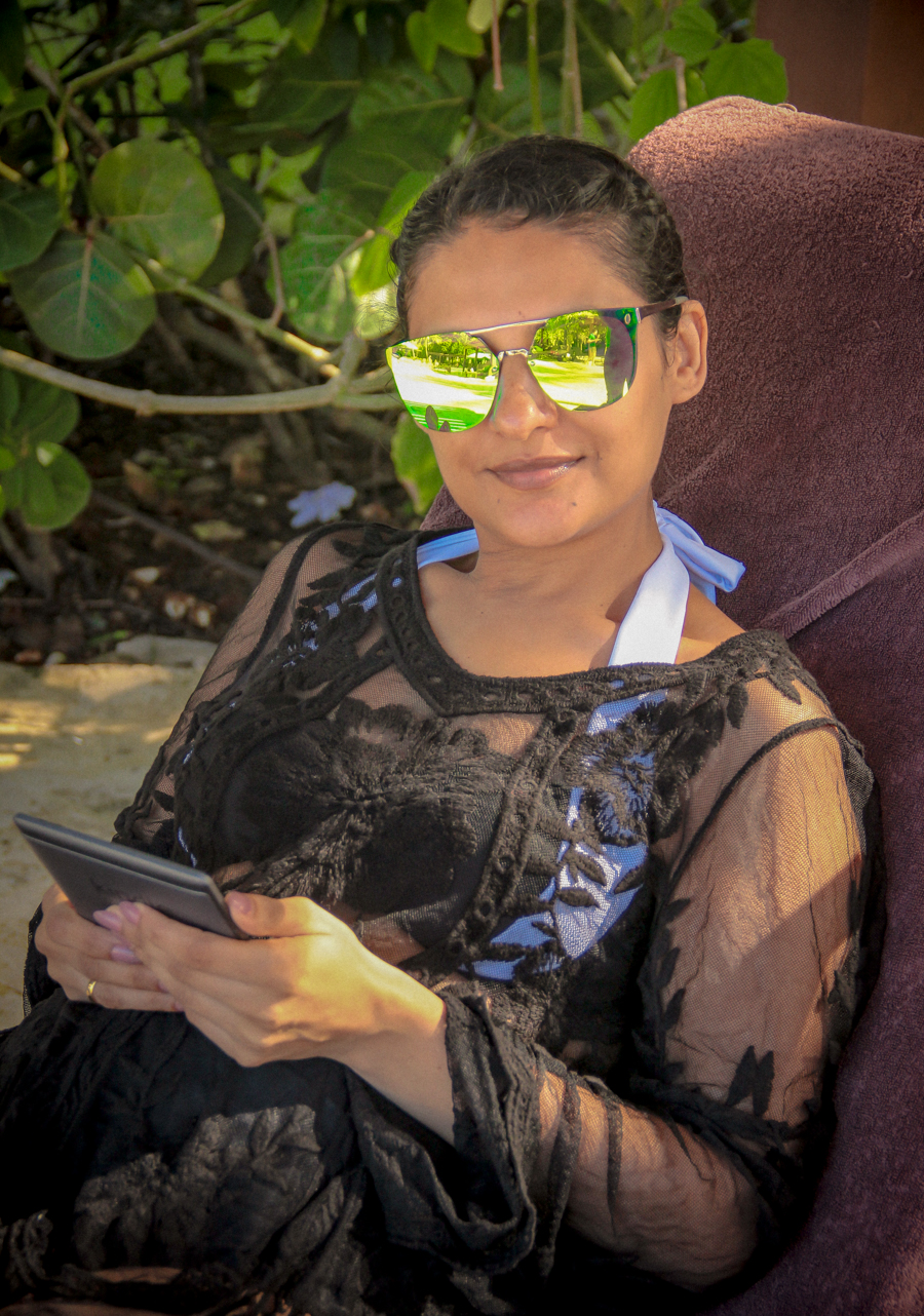 Time Out - Me chilling on a sun lounger with my kindle
