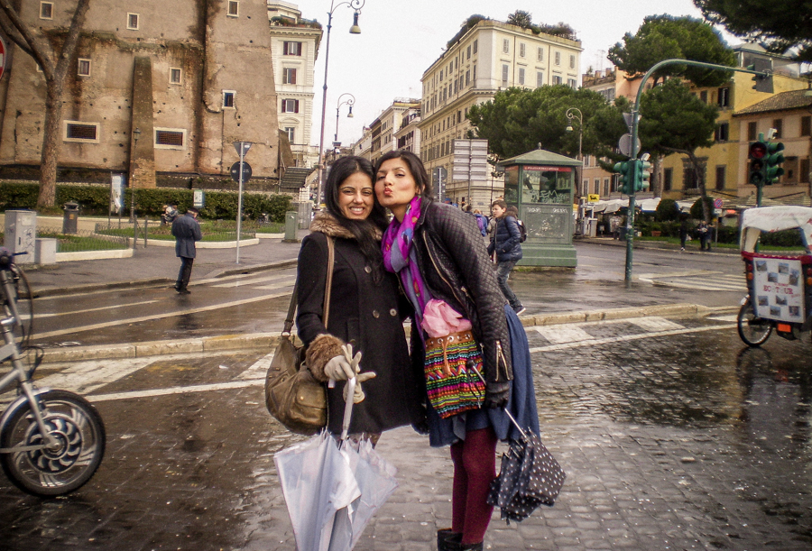 My best friends on a wet street in Rome