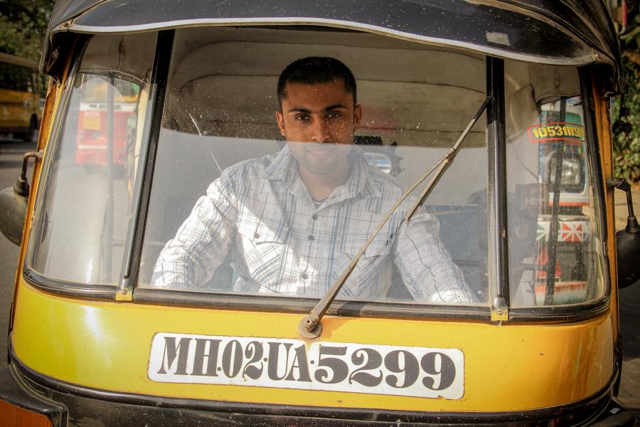 Sukh in an auto-rickshaw