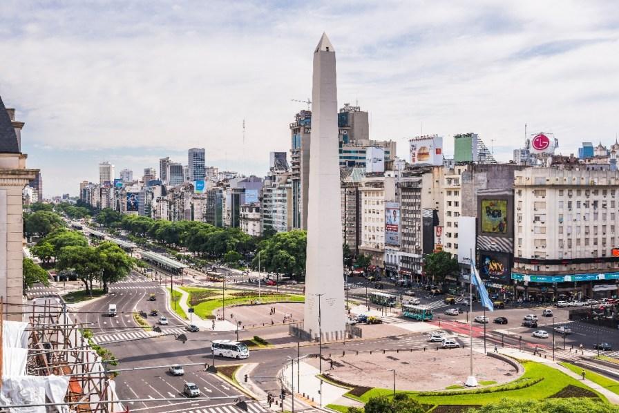 Obelisco and Avenida 9 de Julio (9 July Avenue), Buenos Aires, Argentina
