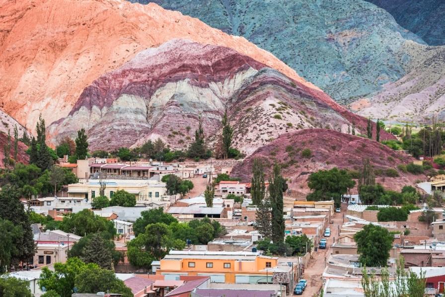 Purmamarca and the Hill of Seven Colours (Cerro de los Siete Colores), Quebrada de Purmamarca, Jujuy Province, North Argentina